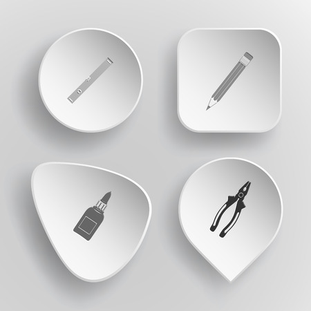 spirit level: 4 images: spirit level, pencil, glue bottle, pliers. Angularly set. White concave buttons on gray background.