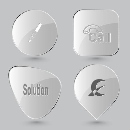 hotline: ink pen, hotline, solution, monetary sign. Business set. Glass buttons on gray background. Illustration