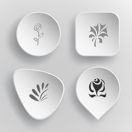 concave: Abstract set white concave buttons on gray background