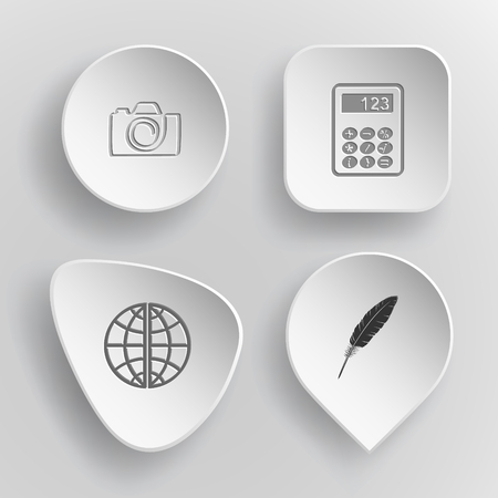 concave: Education set white concave buttons on gray background Illustration