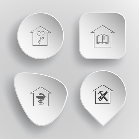concave: Home set. White concave buttons on gray background.