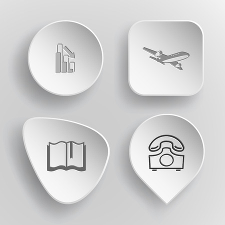 concave: 4 images: graph degress, airliner, book, rotary phone. Business set. White concave buttons on gray background. Illustration