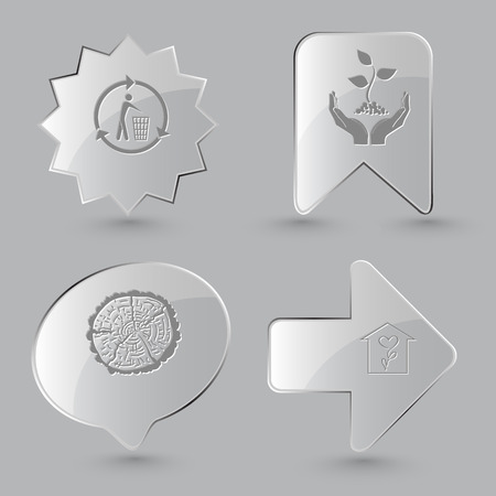 rind: 4 images: recycling bin, plant in hands, cut of tree, flower shop. Nature set. Glass buttons on gray background.