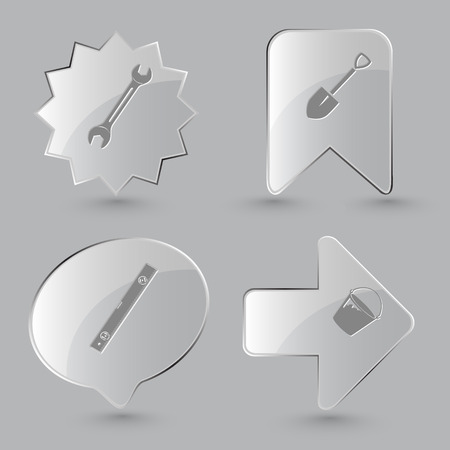 bucket and spade: 4 images: spanner, spade, spirit level, bucket. Industrial tools set. Glass buttons on gray background.