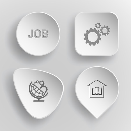concave: 4 images: job, gears, globe and gears, library. Business set. White concave buttons on gray background. Illustration