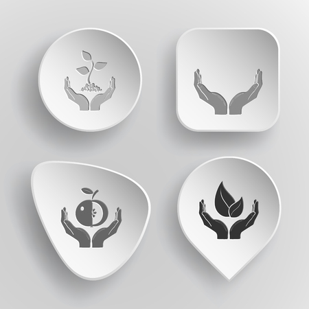 concave: 4 images: plant in hands, human hands, apple in hands, life in hands. In hands set. White concave buttons on gray background. Illustration