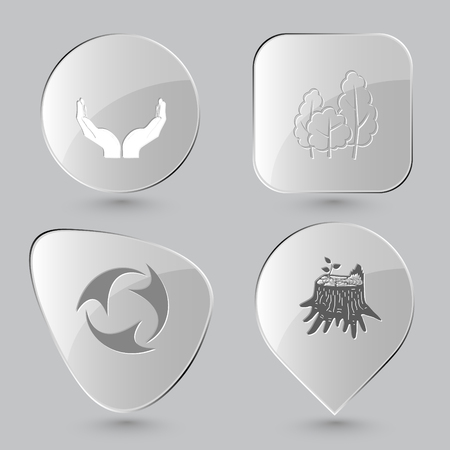 rind: Ecology set. Glass buttons on gray background. Illustration