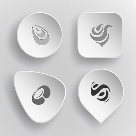 concave: 4 images of unique abstract forms. White concave buttons on gray background. Illustration