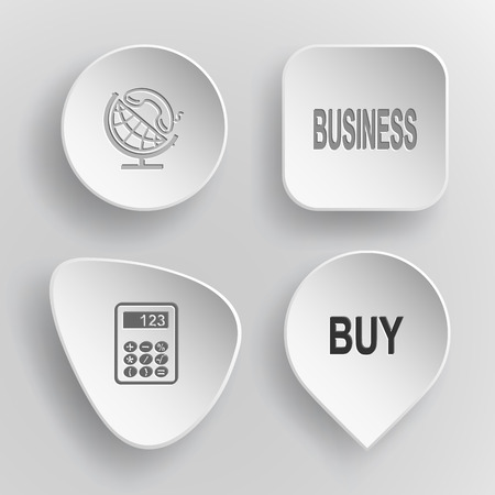 4 images: globe and handset, business, calculator, buy. Business set. White concave buttons on gray background.
