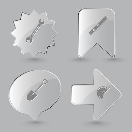 spirit level: 4 images: spanner, spirit level, spade, hard hat. Industrial tools set. Glass buttons on gray background. Illustration