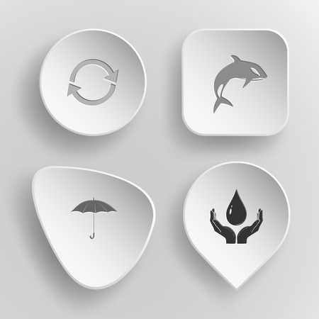 concave: 4 images: recycle symbol, killer whale, umbrella, protection blood. Nature set. White concave buttons on gray background.