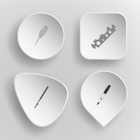 4 images: awl, cycle spanner, ruling pen, ink pen. Angularly set. White concave buttons on gray background. Vector icons.