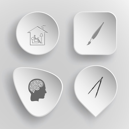 concave: 4 images: home reading, brush, human brain, caliper. Education set. White concave buttons on gray background. Vector icons. Illustration