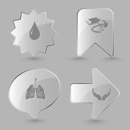 air gauge: 4 images: drop, blood pressure, lungs, human hands. Medical set. Glass buttons on gray background. Vector icons.