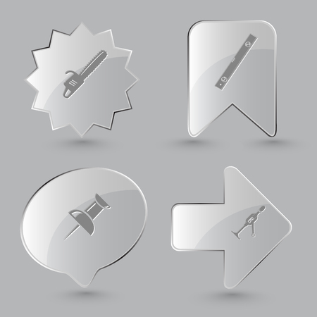 spirit level: 4 images: gasoline-powered saw, spirit level, push pin, hand drill. Angularly set. Glass buttons on gray background. Vector icons.