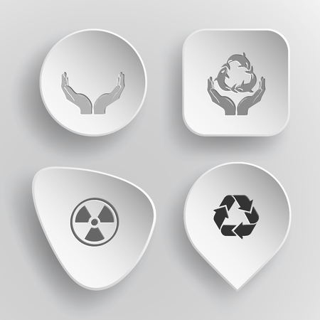 concave: 4 images: human hands, protection sea life, radiation symbol, recycle symbol. Ecology set. White concave buttons on gray background. Vector icons.
