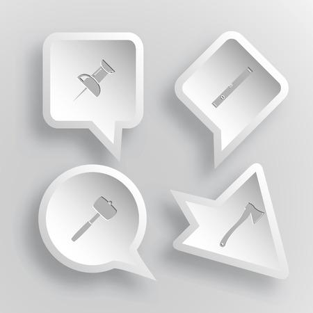 spirit level: 4 images: push pin, spirit level, mallet, axe. Angularly set. Paper stickers. Vector illustration icons. Illustration