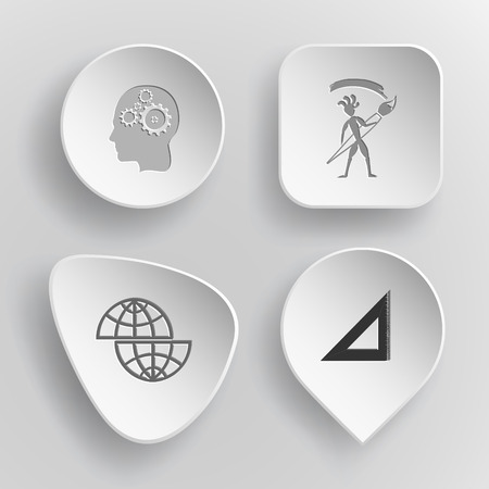 concave: 4 images: human brain, ethnic little man with brush, shift globe, triangle ruler. Education set. White concave buttons on gray background. Vector icons. Illustration