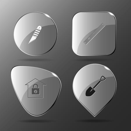 spirit level: 4 images: knife, spirit level, bank, spade. Industrial tools set. Glass buttons. Vector illustration icon. Illustration
