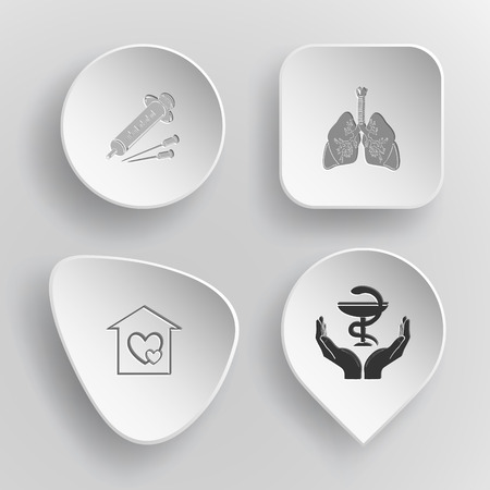 concave: 4 images: syringe, lungs, orphanage, pharma symbol in hands. Medical set. White concave buttons on gray background. Vector icons.