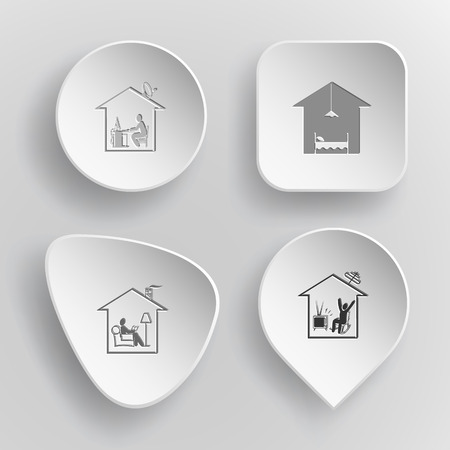 concave: 4 images: home work, hotel, home reading, home watching TV. Home set. White concave buttons on gray background. Vector icons. Illustration