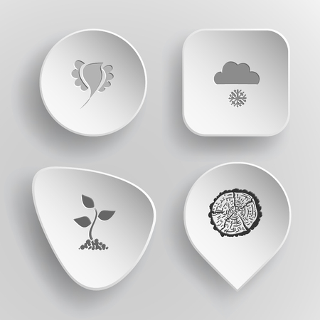 concave: 4 images: bird, snowfall, sprout, cut of tree. Nature set. White concave buttons on gray background. Vector icons. Illustration