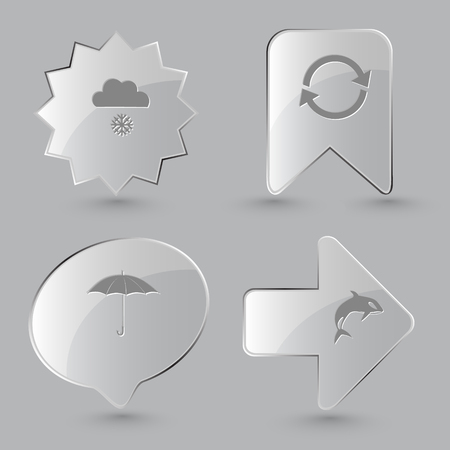 gray whale: 4 images: snowfall, recycle symbol, umbrella, killer whale. Nature set. Glass buttons on gray background. Vector icons.