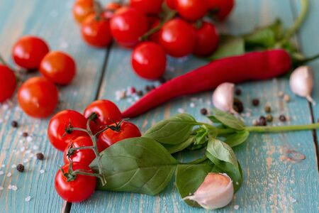 Ingredients for Italian cuisine. Wooden background