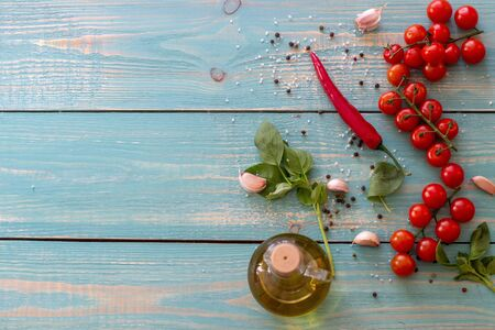 Ingredients for Italian and Mediterranean cuisine. Wooden background. Stock Photo