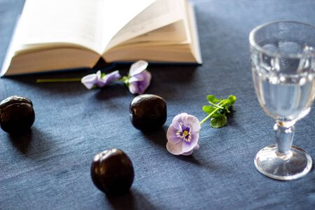 Plums, flowers, a book and a glass of water on a blue background.