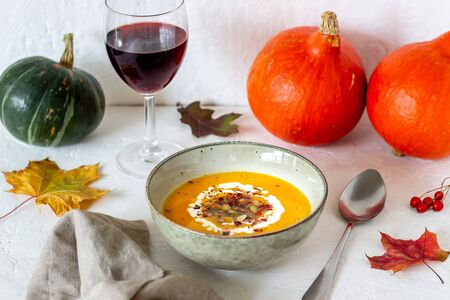 Pumpkin soup on a white background. Healthy eating. Diet. Vegetarian food. Autumn. Recipes. Stockfoto - 131326894