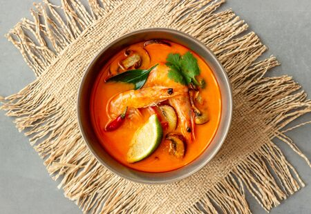 That pit soup. Thai cuisine. Healthy eating. Recipes. National cuisine Black background