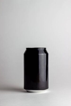 Black aluminum can on a white background. Mock-up. Copy space. Beverage design