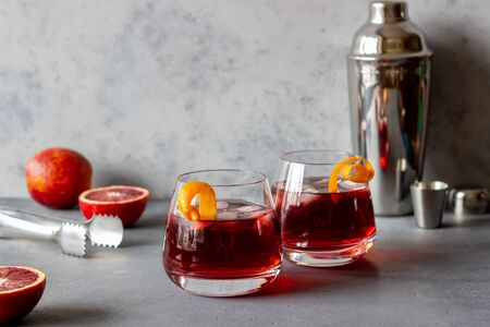 Negroni cocktail. Bitter, gin, vermouth ice Bar Recipes Alcoholic beverages