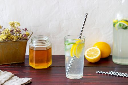 Homemade lemonade with lemon and mint. Cold drinks. Recipes. Veganism. Healthy eating. Diet.