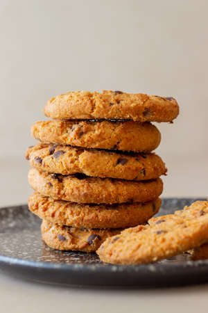 Cookies with chocolate. Pastries. Breakfast. Vegetarian food. Recipe.