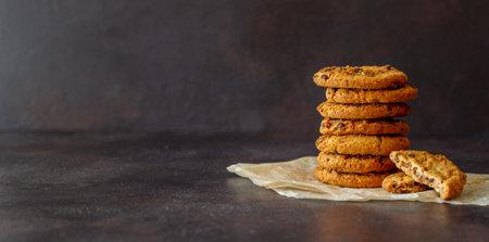 Cookies with chocolate. Pastries. Breakfast. Vegetarian food. Recipe. 免版税图像