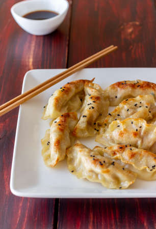 Fried dumplings with soy sauce. Gyoza. Healthy eating. Vegetarian food. 免版税图像