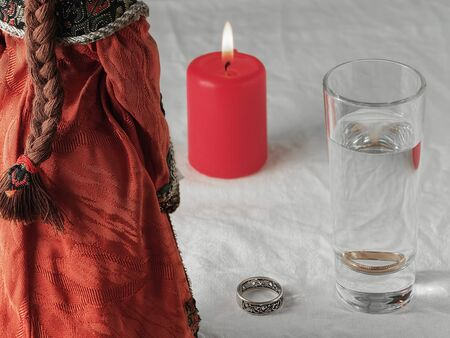 Christmas divination. Traditional fortune-telling for the new year. Close-up.