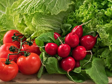 Un bouquet de radis, un bouquet de tomates mûres. Chou chinois frais et salade. Gouttes d'eau sur les légumes. Fermer. Mise au point sélective sur le radis et la tomate. Orientation horizontale.