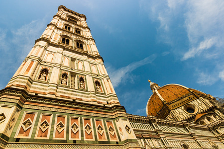 The grand facade of the Cathedral Santa Maria del Fiore in Florence, Italy, or Il Duomo di Firenze, in Tuscany.