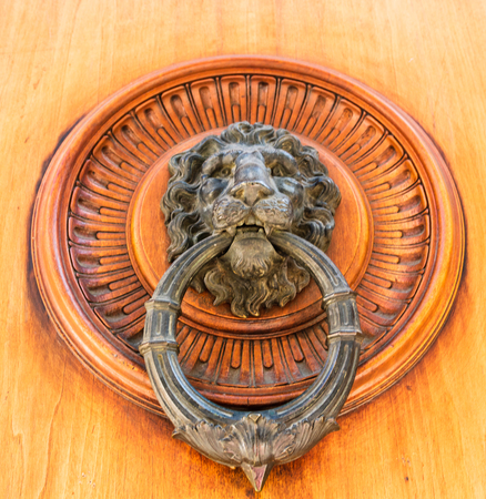 Medieval lion head door knocker on wooden door.