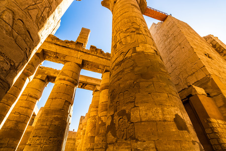 Great Hypostyle Hall and clouds at the Temples of Karnak. Luxor, Egypt