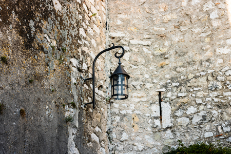 Old streetlight in the medieval village of Eze, France.