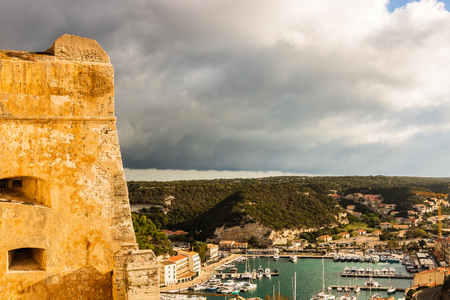 Landscape of Bonifacio with the Harbor and The Citadel at left. Corsica Island, France Stock Photo