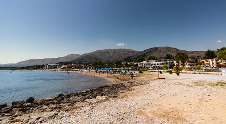 Panorama of the famous beach of Georgioupolis village in Crete Island, Greece.