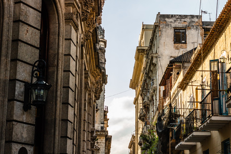 Facade of old colonial buildings in Havana, Cuba.