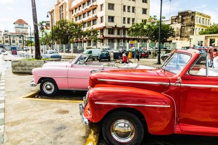 Havana, Cuba - 2019. American classic cars parked on the streets of Old Havana, Cuba