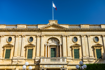 Detail of National Library of Malta in Valetta.
