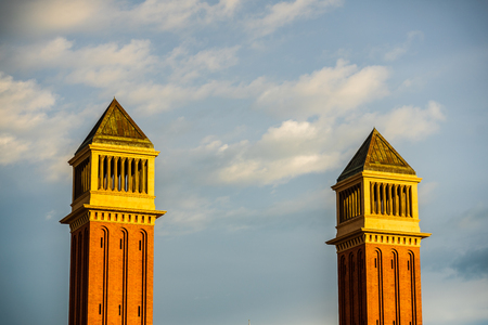 View of the Plaza de Espana Venetian Towers. Catalonia, Spain. Spanish Sqare - Plaza de Espana.
